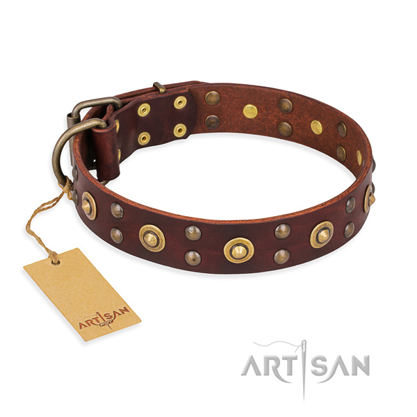 Adjustable full grain leather dog collar with durable D-ring