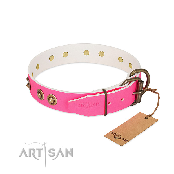 Natural genuine leather dog collar with strong buckle and adornments