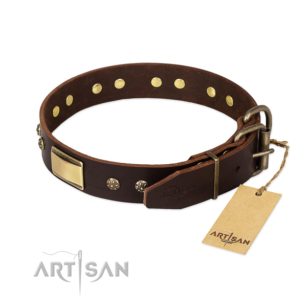 Studded full grain genuine leather collar for your pet