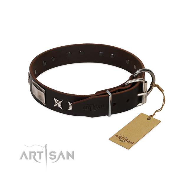 Incredible collar of natural leather for your attractive pet