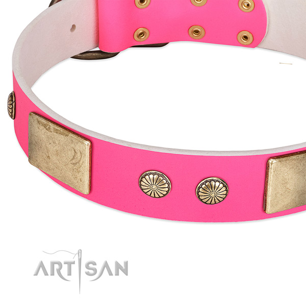 Rust-proof hardware on full grain leather dog collar for your doggie