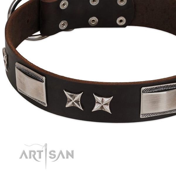 High quality full grain genuine leather dog collar with reliable buckle
