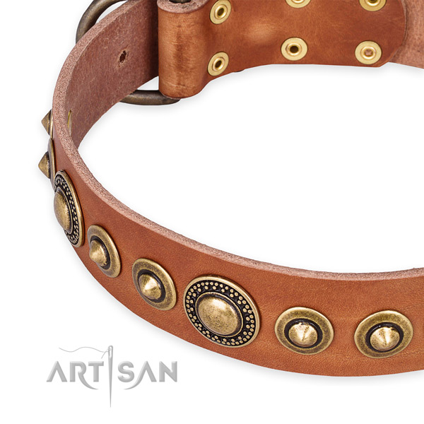 Gentle to touch leather dog collar made for your attractive dog