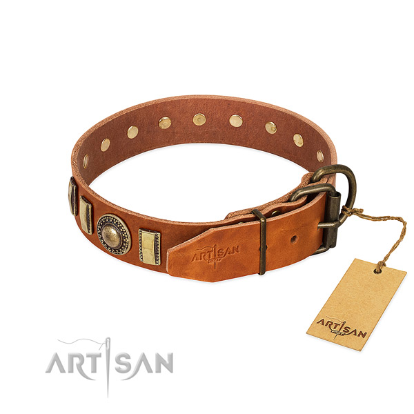 Inimitable leather dog collar with rust-proof traditional buckle