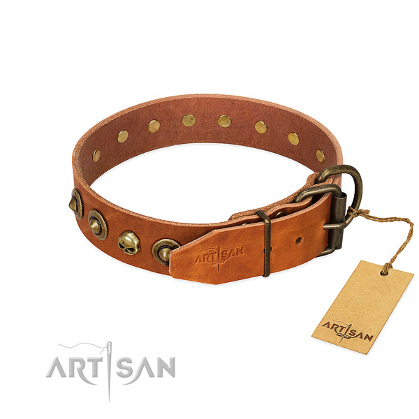 Full grain natural leather collar with significant decorations for your dog