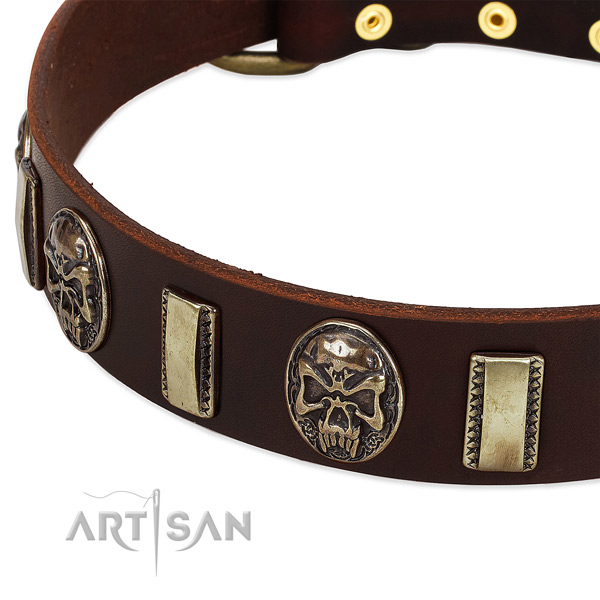 Rust-proof fittings on full grain natural leather dog collar for your dog