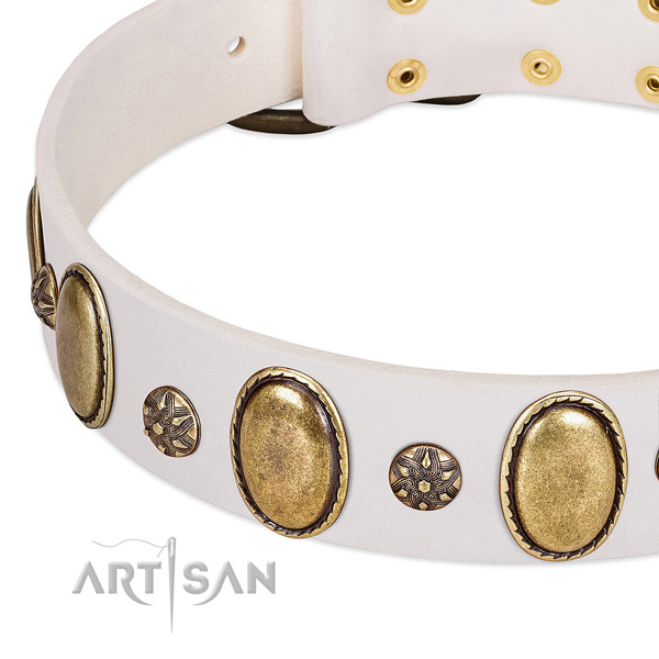 Stylish walking gentle to touch natural genuine leather dog collar with studs