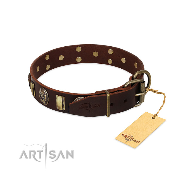 Full grain natural leather dog collar with durable D-ring and decorations