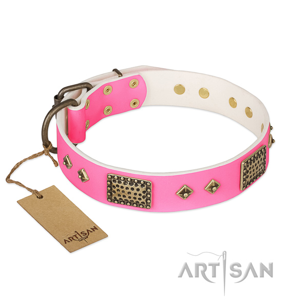 Easy to adjust natural genuine leather dog collar for stylish walking your canine