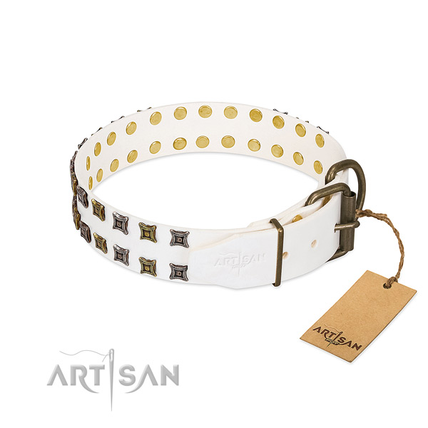 Full grain genuine leather collar with extraordinary decorations for your doggie