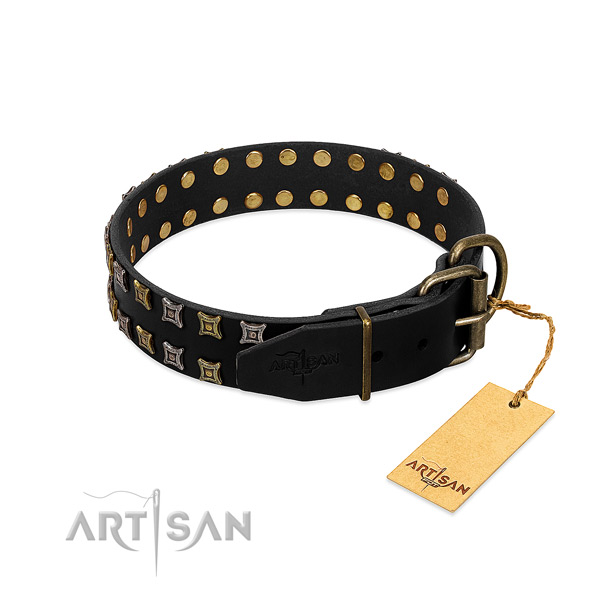 High quality full grain leather dog collar crafted for your doggie