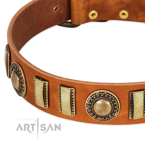 Reliable full grain genuine leather dog collar with corrosion proof D-ring