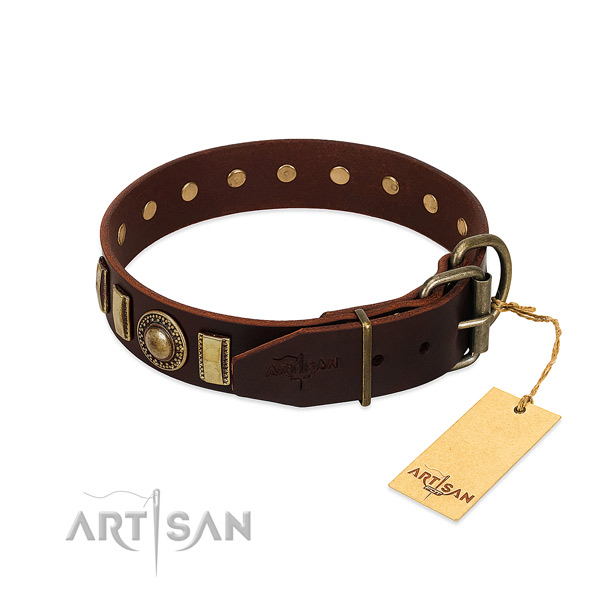Unique full grain leather dog collar with strong traditional buckle