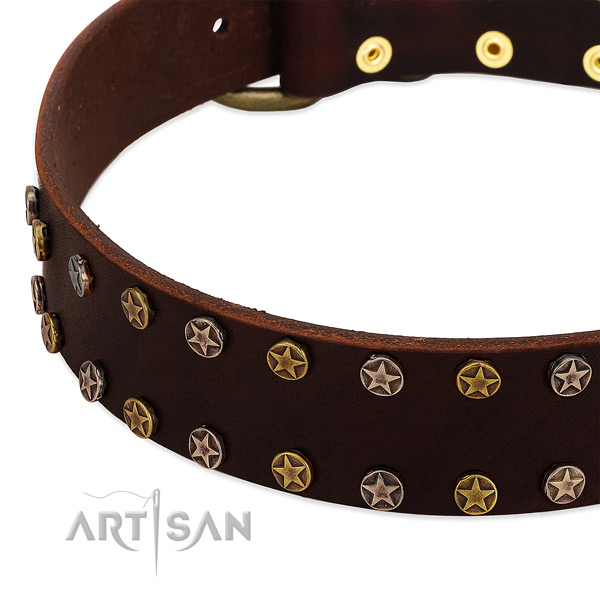 Easy wearing genuine leather dog collar with exquisite studs