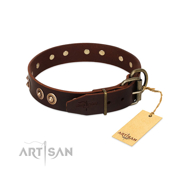 Corrosion resistant traditional buckle on full grain natural leather dog collar for your four-legged friend