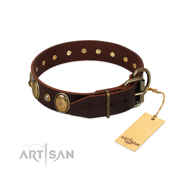 Durable hardware on natural genuine leather collar for basic training your four-legged friend