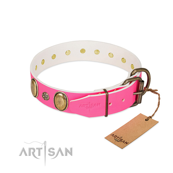 Flexible full grain genuine leather dog collar with decorations