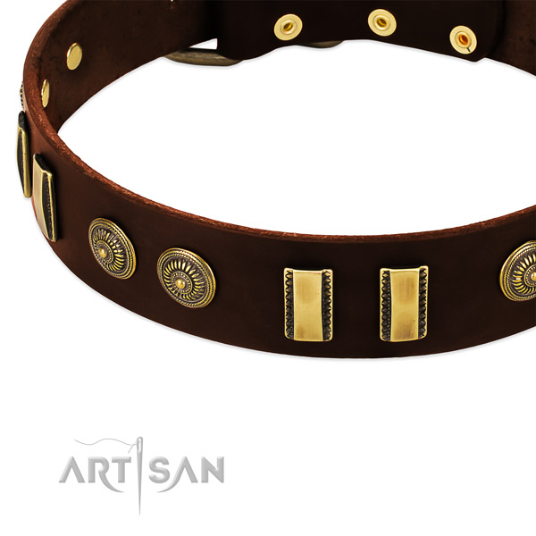 Strong buckle on leather dog collar for your doggie