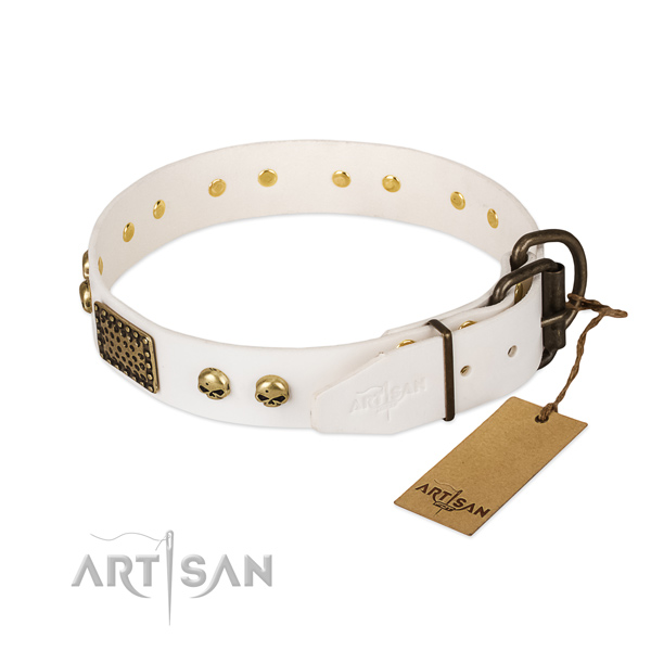 Easy wearing natural leather dog collar for daily walking your doggie