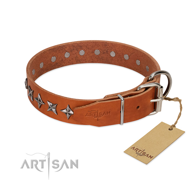 Daily walking decorated dog collar of high quality leather