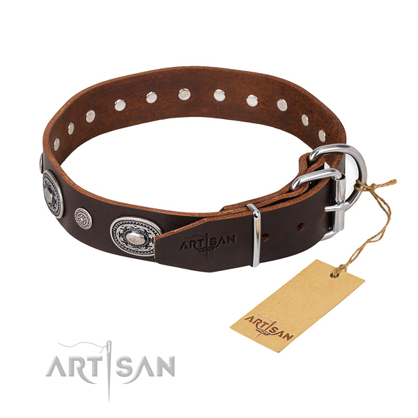 Soft to touch leather dog collar created for walking