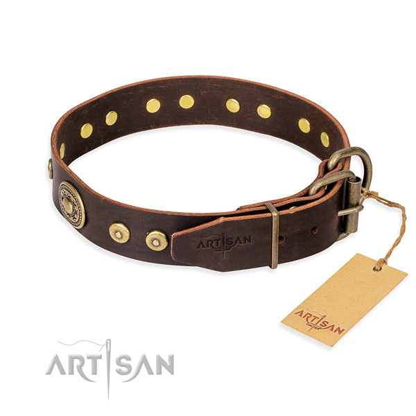 Genuine leather dog collar made of quality material with corrosion proof adornments