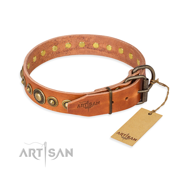 Soft to touch genuine leather dog collar handcrafted for handy use