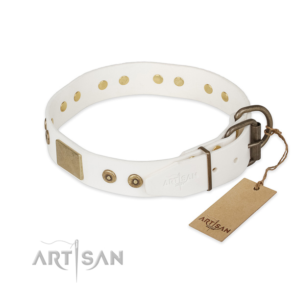 Natural leather dog collar with strong buckle and embellishments
