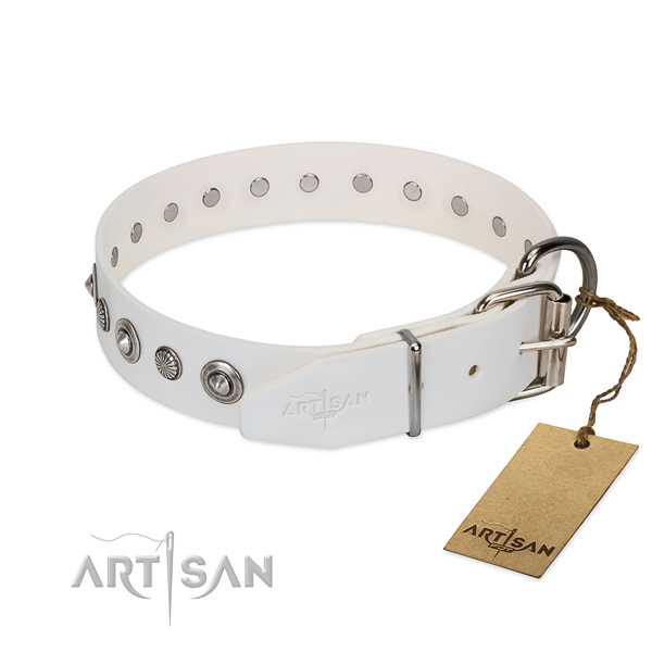 Finest quality full grain natural leather dog collar with unique decorations