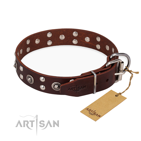 Corrosion resistant D-ring on full grain genuine leather collar for your beautiful pet