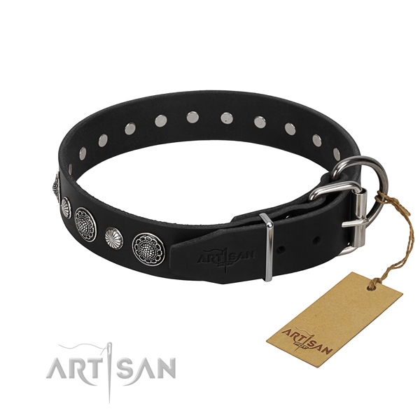 Reliable genuine leather dog collar with stylish studs