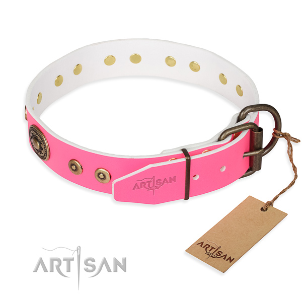 Genuine leather dog collar made of soft to touch material with corrosion resistant decorations