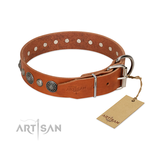 Soft full grain leather dog collar with corrosion proof D-ring