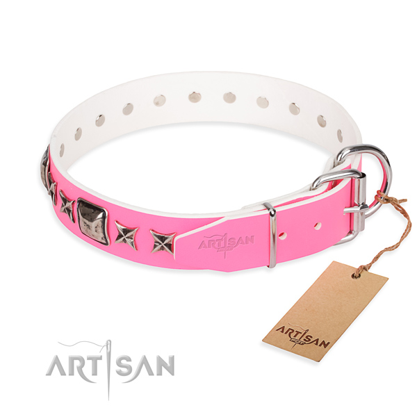Fine quality adorned dog collar of full grain genuine leather