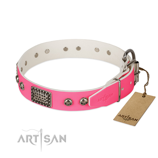 Reliable studs on comfortable wearing dog collar