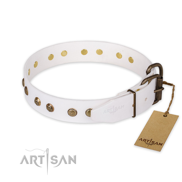 Rust-proof traditional buckle on genuine leather collar for your lovely dog