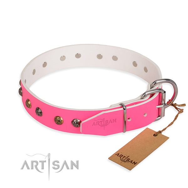 Genuine leather dog collar with top notch corrosion proof embellishments