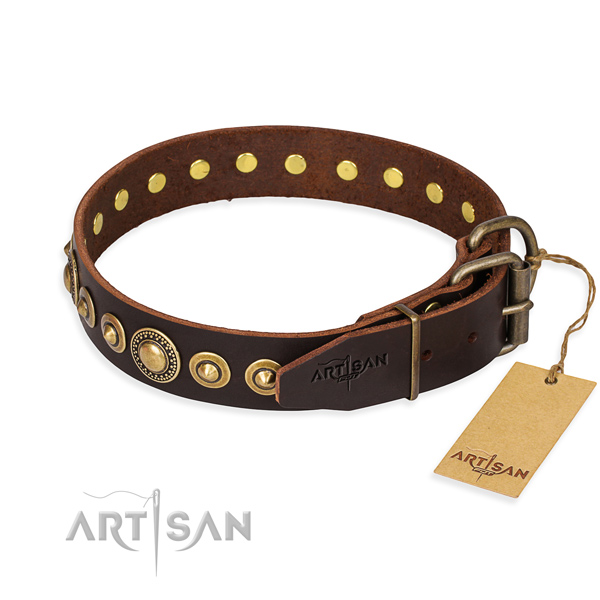Quality leather dog collar handmade for comfortable wearing