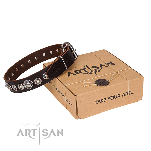 Genuine leather dog collar made of soft to touch material with corrosion resistant buckle