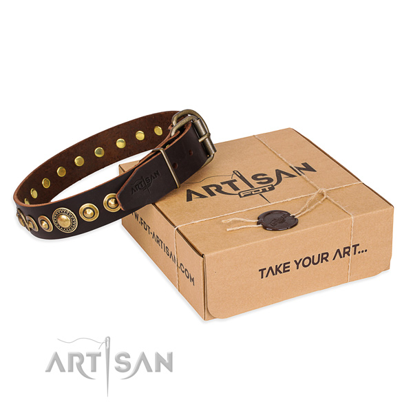 Strong full grain leather dog collar made for easy wearing