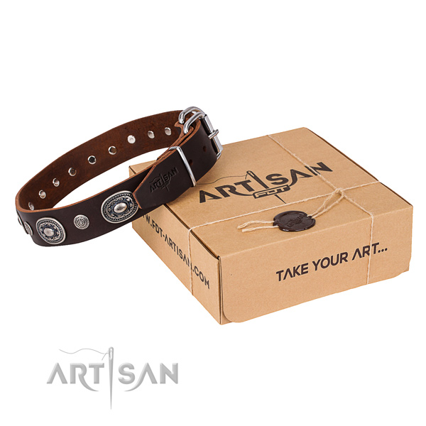 Soft to touch genuine leather dog collar handmade for everyday walking