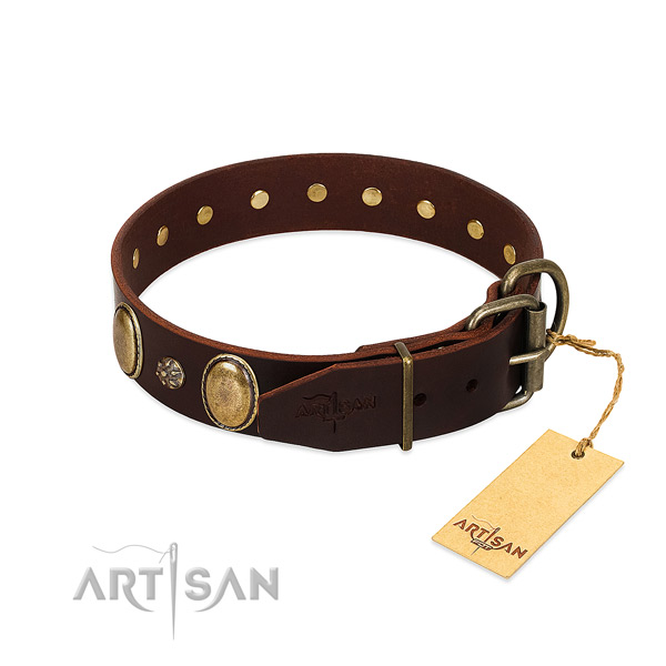 Walking soft to touch natural genuine leather dog collar