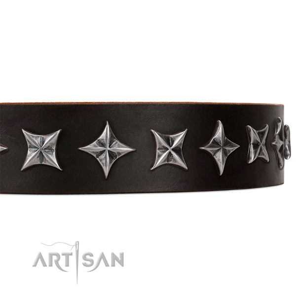 Comfortable wearing decorated dog collar of high quality natural leather
