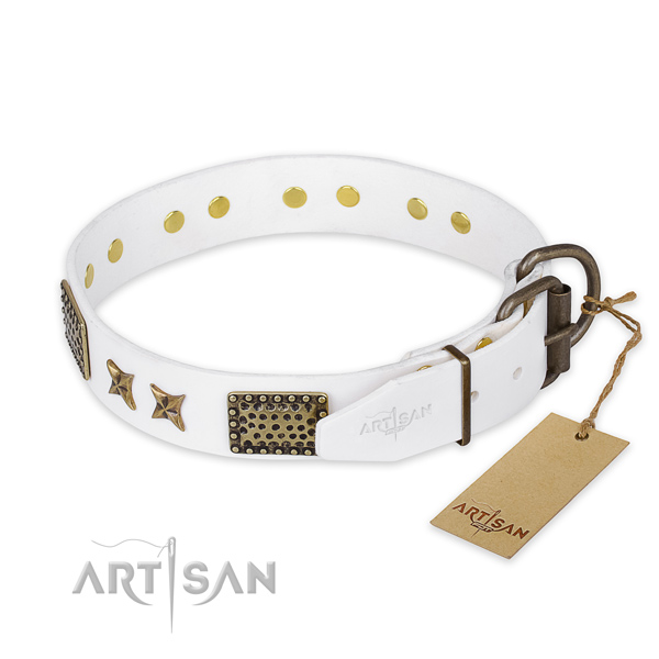 Rust resistant traditional buckle on full grain natural leather collar for your stylish doggie