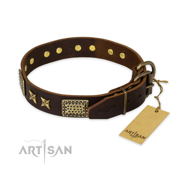 Strong buckle on full grain genuine leather collar for your handsome four-legged friend