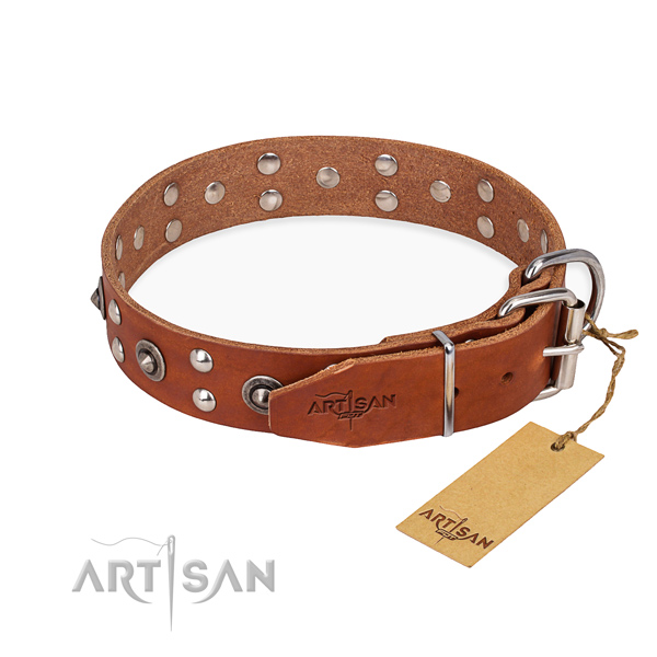 Corrosion resistant traditional buckle on full grain genuine leather collar for your beautiful dog