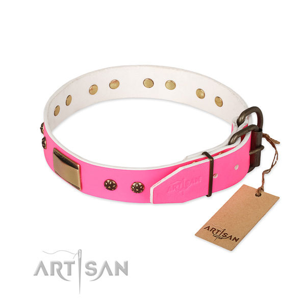 Corrosion proof D-ring on full grain genuine leather dog collar for your dog