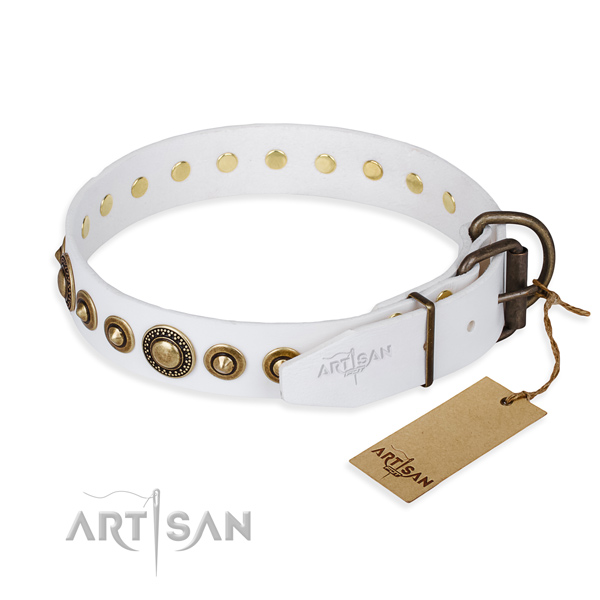 Soft to touch full grain leather dog collar crafted for everyday walking