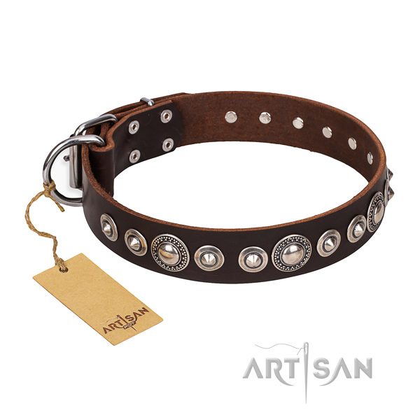 Full grain natural leather dog collar made of best quality material with strong studs