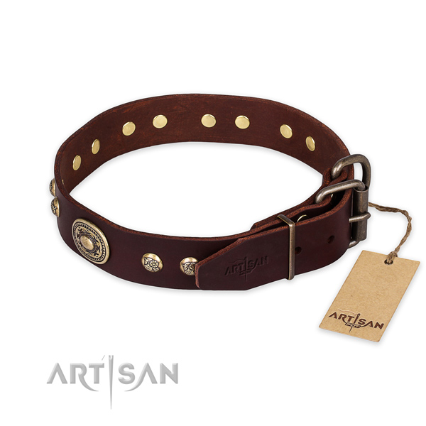 Durable buckle on natural leather collar for daily walking your dog